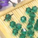 Beads, Auralescent Crystal, Crystal, Dark teal , Faceted Bicones, 6mm x 6mm x 5mm, 10 Beads, [ZZC188]